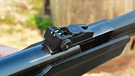 Twin fibre optics either side of the groove on the rear sight