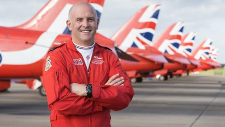 Squadron Leader Mike Ling with the Red Arrows at the conclusion of his 21 years' service with the Ro