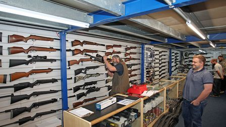 Nearly all the walls are filled with rifles!