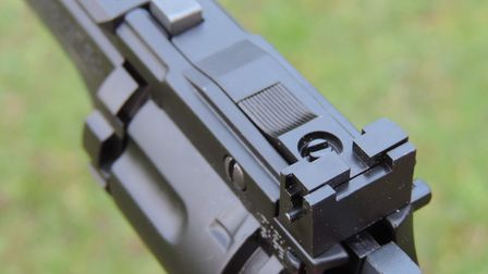 Unlike many more expensive pistols, the rear sight on the Vigilante can be fully adjusted.