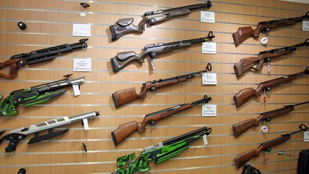 Nearly every wall is adorned by beautiful custom rifles