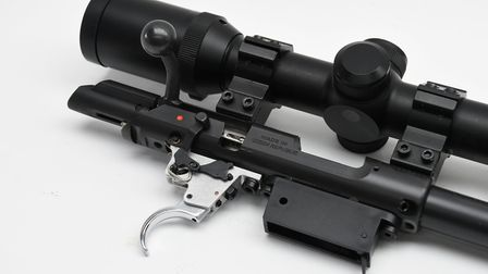16. New adjustable trigger and safety catch mechanism are superb for the rimfire market