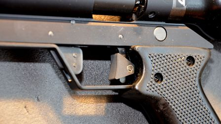 Detail of the adjustable trigger shoe and the safety tab
