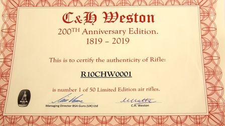 Signed by the MD of BSA, and Ivan Mather, the C & H Weston proprietor.