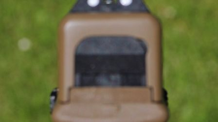 The rear and forward sights are easy to line up