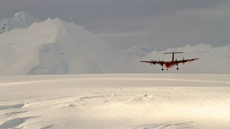 The BAS Twin Otter on approach into Rothera (CREDIT: Adam Bradley)