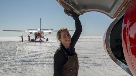 Pilot Vicky Auld at the Berkner Island field depot, an ice dome on the Ronne Ice Shelf (CREDIT: BAS)