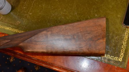 Pro Ferrum can be used on wood. Here is the stock before treatment...