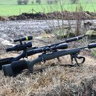 Sauer on the left/rear with Howa toward the right/front, both in everyday used format