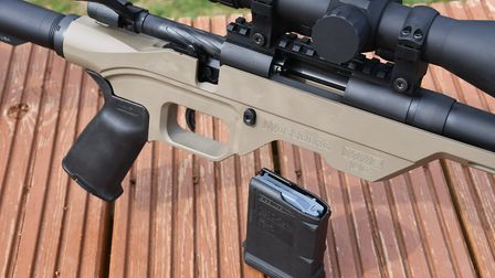 The mag release button alongside the double stack 10 shot magazine