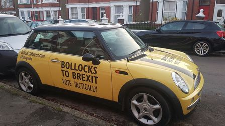 The car involved belongs to anti-Brexit group campaign group EU Flag Mafia. Picture: supplied by Pet