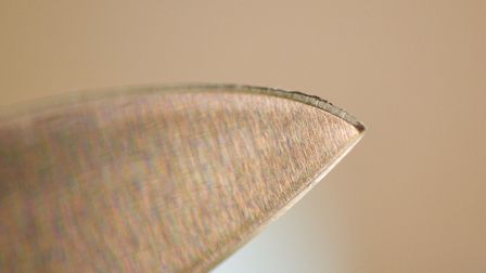 A magnified view of the burr produced on the cutting edge during sharpening