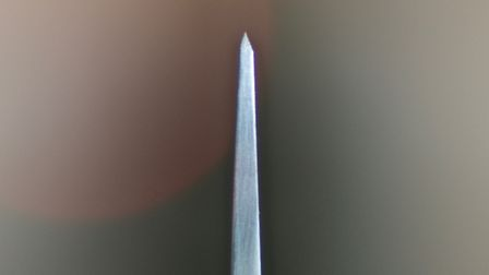 Edge geometry typical for a factory-made knife, this edge is thick enough to affect ease of sharpeni