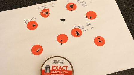 Primary pellet selection targets shot at 30 metres