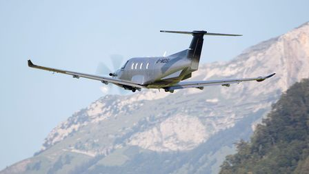 The first Pilatus PC-12 NGX destined for a UK customer is seen here departing Stans, Switzerland