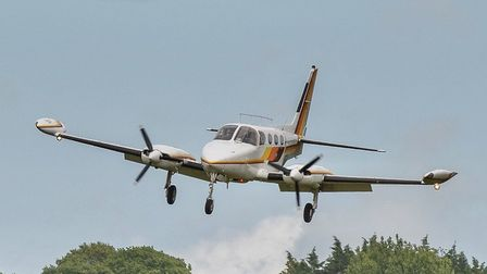The Cessna 340 arriving at Bembridge airfield on the Isle of Wight