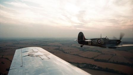 Almost home, setting sun greets us at Duxford