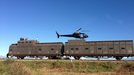 AS350 landed on train for Expendables 3
