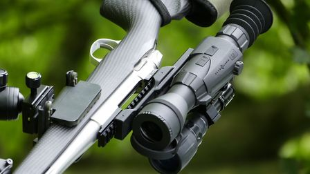 The Sightmark 4K Max atop the Sako. A varminting rig needs to be flexible both day and night