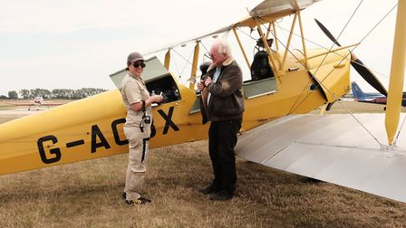 Emma is pictured here with Steve Bohill, a Tiger Moth display pilot