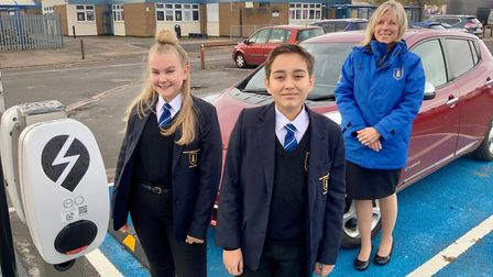 Two electric charging points were installed in the school's car park last year. Picture: Shane Dean