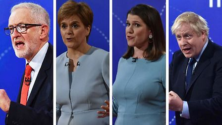 Jeremy Corbyn, Nicola Sturgeon, Jo Siwnson, and Boris Johnson on a Question Time leaders special. Ph
