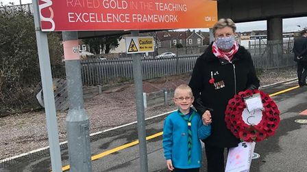 Sheila and grandson Oliver, aged 6, at Weston train station