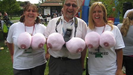 Mark supporting ladies raising awareness of breastfeeding.