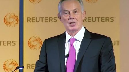 Tony Blair gives a speech ahead of the general election. Photograph: Twitter.