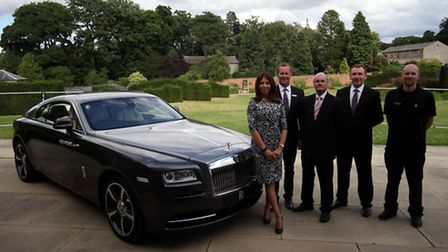 17. Pictured with the Rolls-Royce Wraith are Jo Brown, Jon Crossley, Mike Lennon, Damian Kinney, D