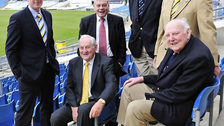 Yorkshire legends past and present. l to r - Current captain Andrew Gale , Ray Illingworth Harold Di