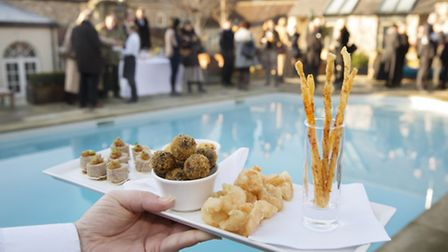 Canapes served by the pool