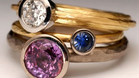 Diamond and sapphire rings by renowned international designer Malcolm Morris