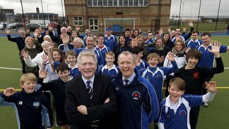Left, President Derek Mitchell with Chairman Julian Rich with players and members.