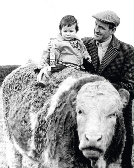 Charles with his grandson Simon and a rather impressive looking beast