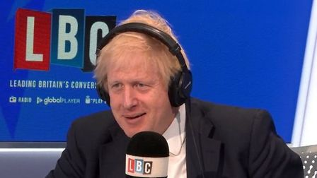 Boris Johnson appears on LBC Radio. Photograph: LBC/Global.