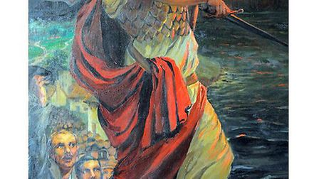 Edith Kemp-Welsh's painting of a determined Britannia with Scarborough Castle in the background