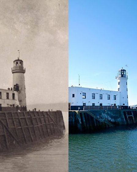 Scarborough lighthouse was one of the many Scarborough landmarks scarred by the attack - The lightho