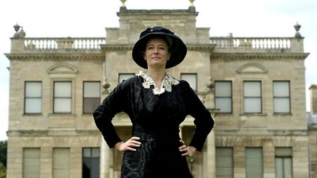 Fashion historian Lucy Adlington arrives at Brodsworth Hall, near Doncaster, in a typical office wor