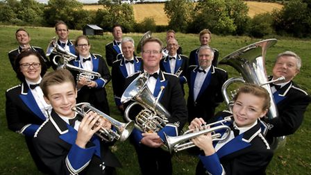 Band Manager Philip Woodward,(centre with glasses) with members of the Senior Band - part of Kirkbym
