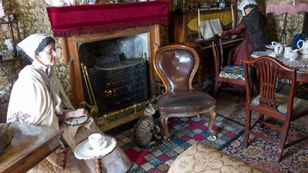 Display of a 19th Century English Farmhouse Parlour in the Hornsea Museum Yorkshire