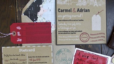 A travel theme runs through this lovely invitation suite