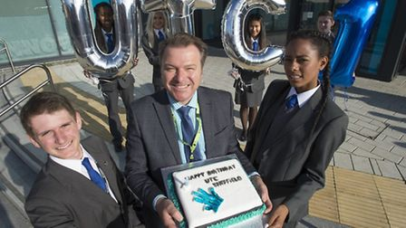 Principal Nick Crew and students celebrate UTC Sheffield's first birthday