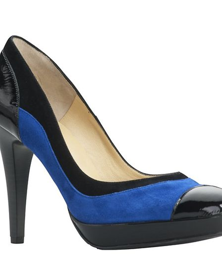Suede platform court shoe in electric blue and black by Peter Kaiser with patent leather finish on t