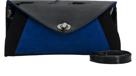 Black patent fold over clutch by Peter Kaiser, featuring an electric blue colour pop in suede, plus