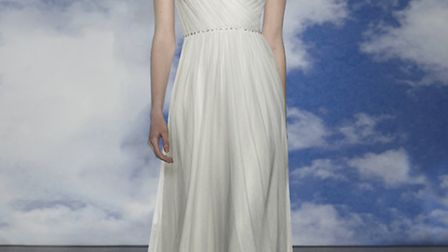 Lavinia by Jenny Packham is a romantic, tulle gown with lace trim available in Ivory and Snowdrop, £