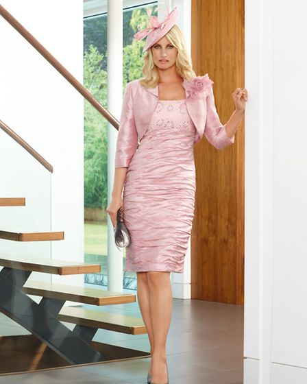 Dress and jacket by Condici in soft pink lotus silk and lace, £959 at Christie Lea