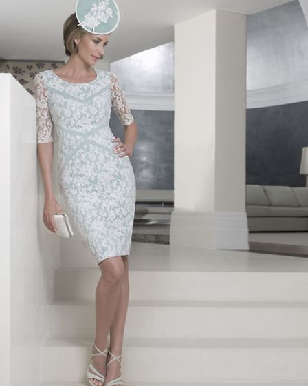 John Charles' Sea mist dress with lace detail sleeves, price on request from Ragdoll of Pudsey