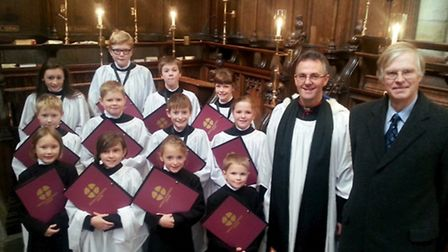 Ripons renowned choristers with the Very Reverend John Dobson and Sir Andrew Lawson-Tancred