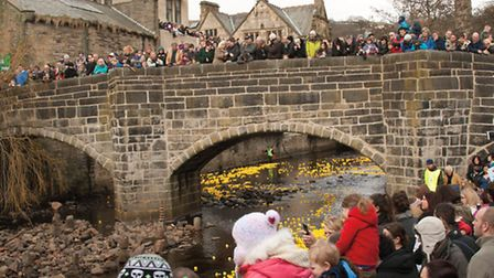 The crowds gather for Hebden Bridge duck race